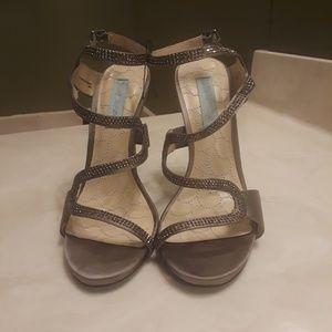 Betsy Johnson Crystal Satin Heels/Sandals